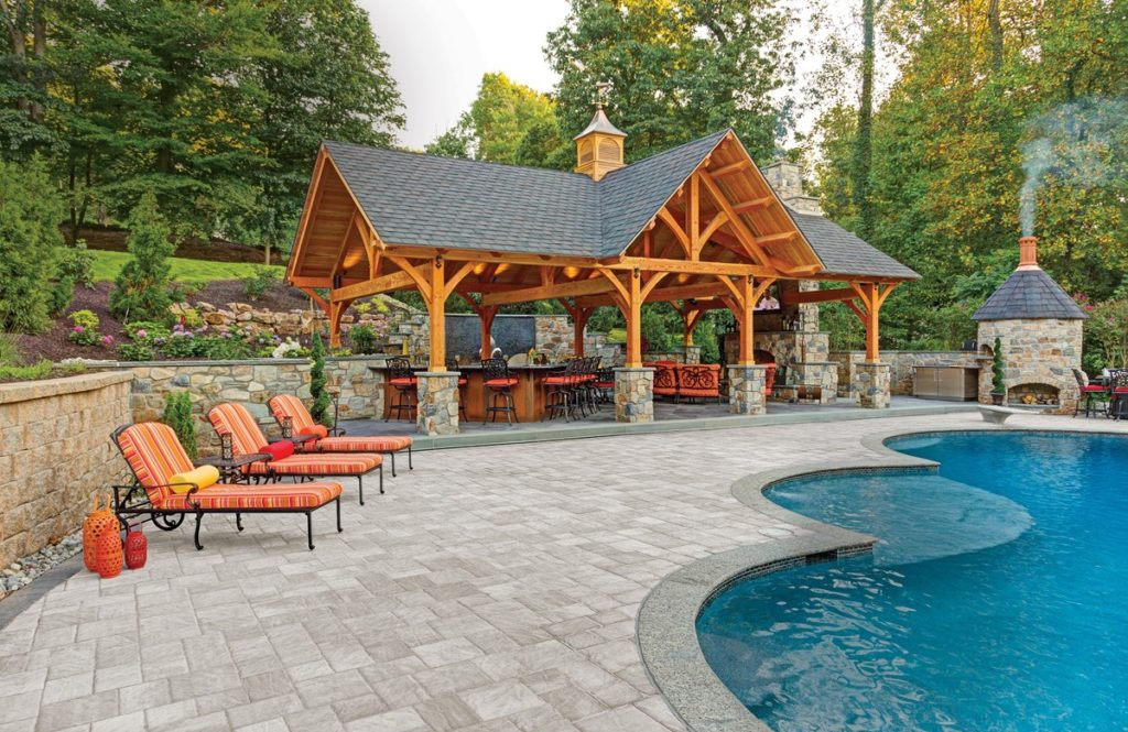 Pool Deck with Rustic Wooden Cabana